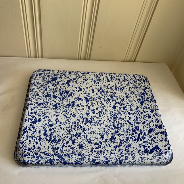 Metal Splatterware Enamel Metal Trays -Set of Two For Sale - Image 7 of 10