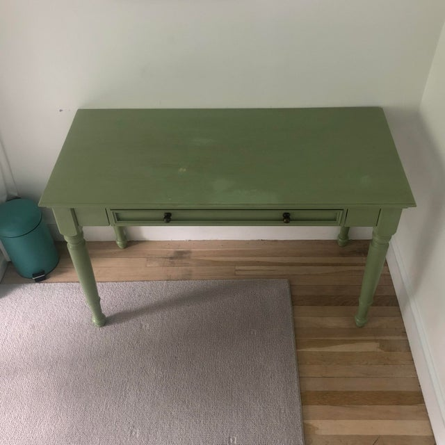 Pottery Barn Shabby Chic Pottery Barn Green Wooden Writing Desk For Sale - Image 4 of 7