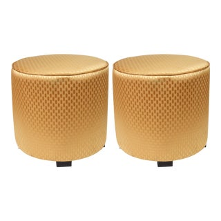 Pair of Modern Gold Moroccan Stools For Sale
