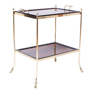 Brass and Leopard Print Server or Bar For Sale