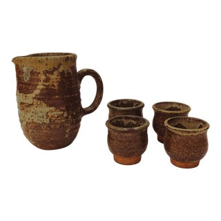 1970s Boho Chic, Minimalism Brown Studio Pottery Pitcher & Cups - Set of 5 For Sale