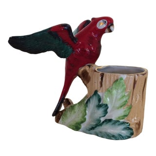 Vintage Figurine Parrot Trinket Holder For Sale