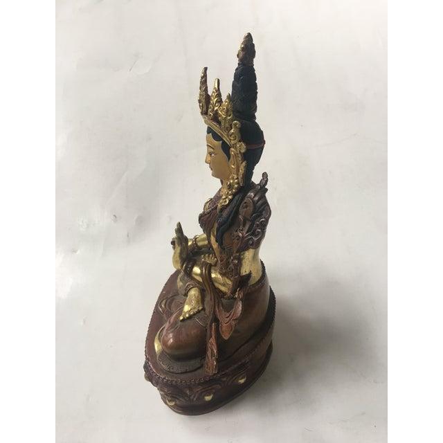 2000s Buddhist Tara Goddess Of Cast Brass For Sale - Image 5 of 11