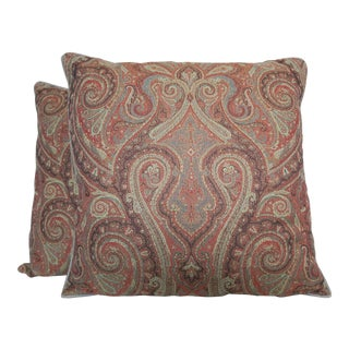 Pair of Vintage Ralph Lauren Paisley Wool Pillows For Sale