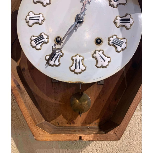 19th Century French Napoleon III Mother of Pearl Inlay and Painted Wall Clock For Sale - Image 10 of 12
