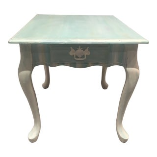 20th Century Queen Anne Light Green Side Table