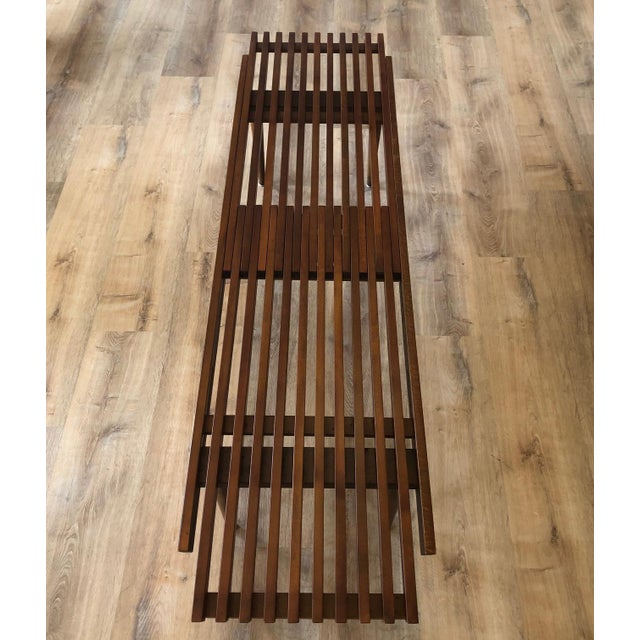 1960s Mid-Century Modern Slat Bench Coffee Table For Sale - Image 4 of 6