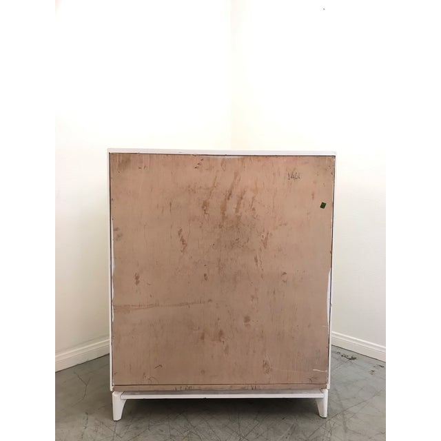Mid-Century Modern 1970s Mid Century Modern White Yellow Lacquered Highboy Dresser For Sale - Image 3 of 9