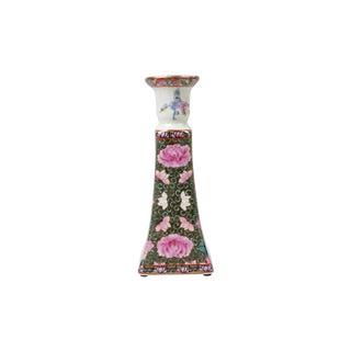 """Vintage Rose Medallion Porcelain Candlestick Holder 9"""" For Sale"""