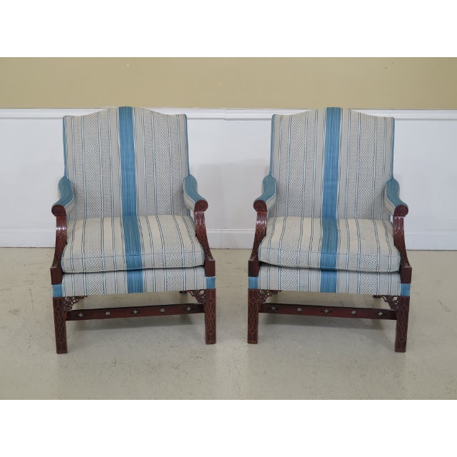 Modern Kindel Chippendale Mahogany Upholstered Chairs- A Pair For Sale - Image 13 of 13