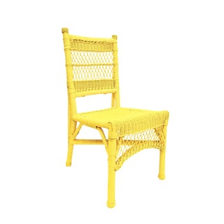 Vintage Henry Link Yellow Rattan Wicker Chair