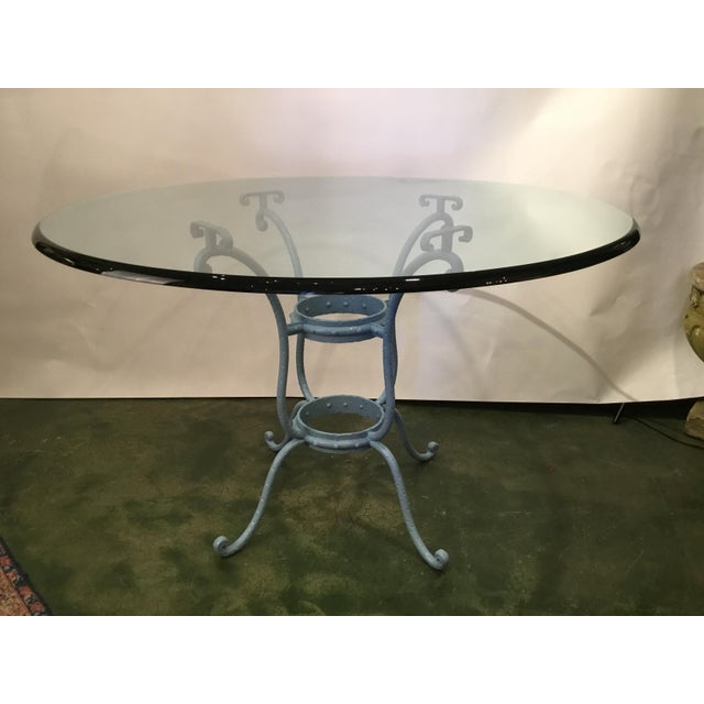 French Blue Iron Base Table With Rounded Beveled Edge Glass Top For Sale - Image 11 of 11