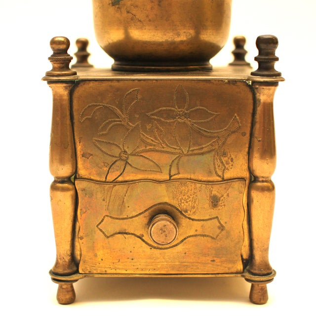 19th Century European Solid Brass Coffee Mill - Image 6 of 8