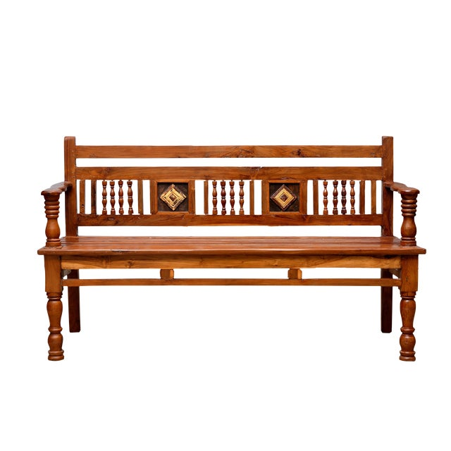 British Colonial Carved Teak Bench - Image 1 of 4