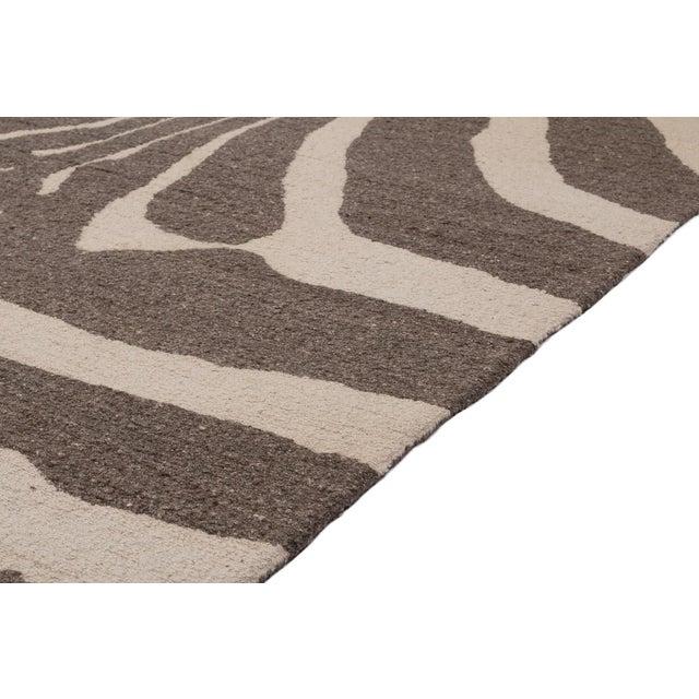 Zebra Design Brocade Weave Area Rug - 6′ × 9′ For Sale In New York - Image 6 of 7