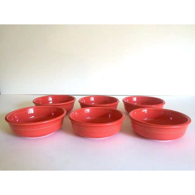 Vintage 1980's Fiesta Ware Homer Laughlin Persimmon Coral Coupe Cereal Soup Bowls - Set of 6 For Sale In Kansas City - Image 6 of 13