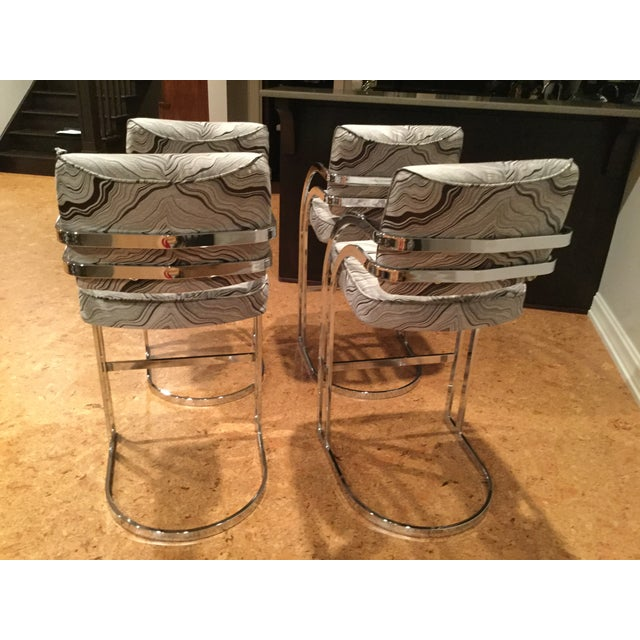 1970s Mid-Century Modern Milo Baughman Chrome Cantilever Bar Stools - Set of 4 For Sale - Image 11 of 12