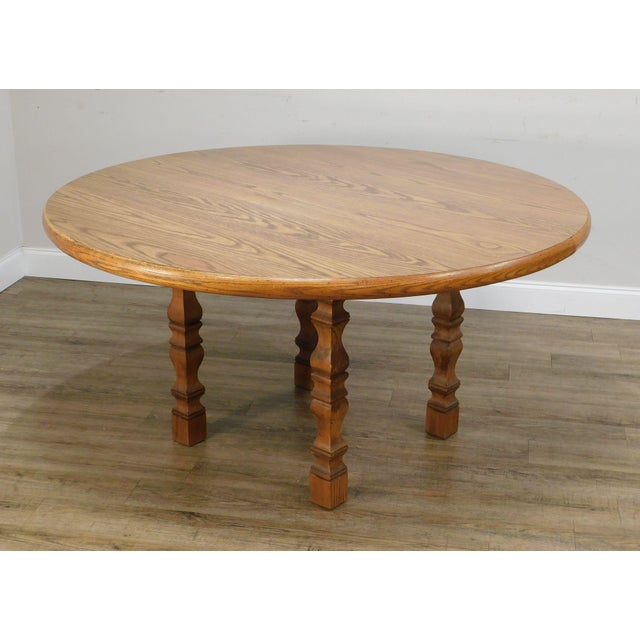 1940s Romweber Viking Oak Round Dining Table For Sale - Image 5 of 13