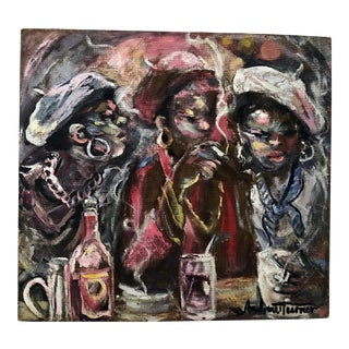 """1990s Vintage Andrew Turner """"Women at the Bar"""" Oil Painting For Sale"""