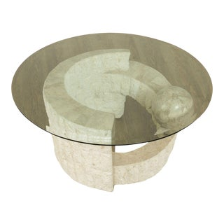 Postmodern Tessellated Marble Round Glass Top Coffee Table For Sale