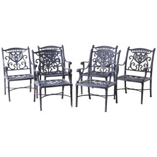 Set of Six Neoclassical Style Cast Iron Garden Chairs For Sale