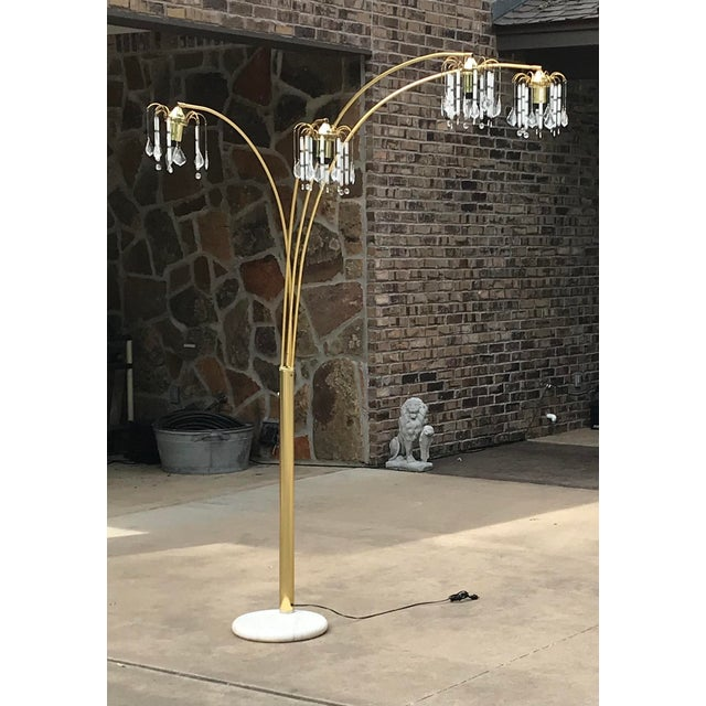 Brass Vintage Mid Century Waterfall Floor Lamp With Marble Base For Sale - Image 8 of 13