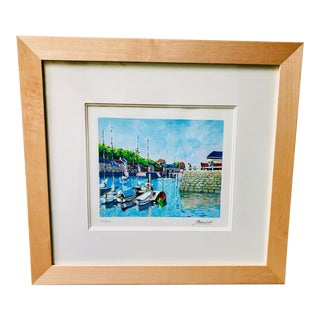 1980s Andre Bardet Signed Nautical Serigraph Print For Sale