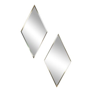 Vintage Diamond Shape Wall Mirrors - A Pair