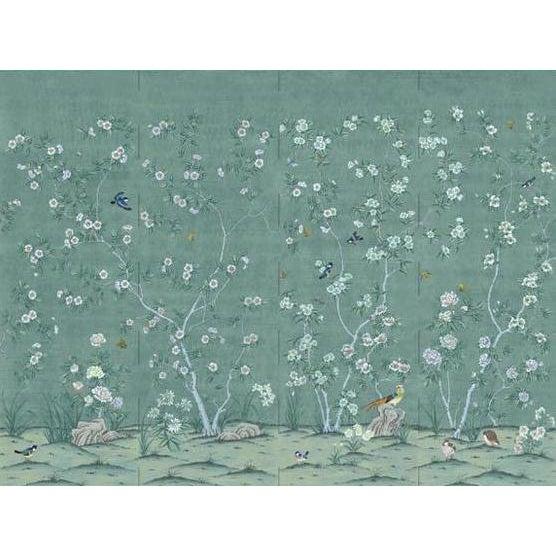 "Casa Cosima Adriatic Quince Mural - 4 Panels 144"" W X 108"" H For Sale"