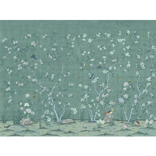 "Casa Cosima Adriatic Quince Wallpaper Mural - 4 Panels 144"" W X 108"" H For Sale"