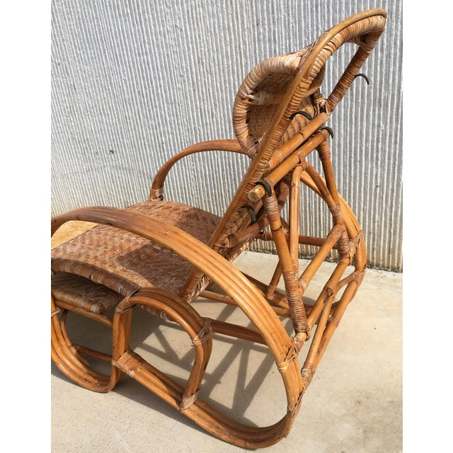 20th Century Adjustable Bentwood and Rattan Chaise Longue With Ottoman For Sale In Miami - Image 6 of 12