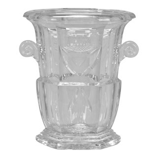 Large Early 20th Century French Cut Crystal Ice Bucket For Sale