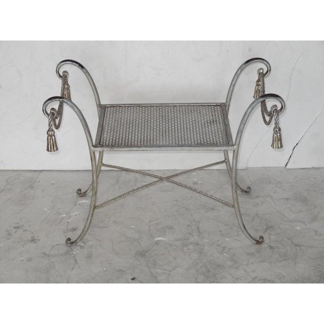 Hollywood Regency Regency Style Metal Bench For Sale - Image 3 of 7
