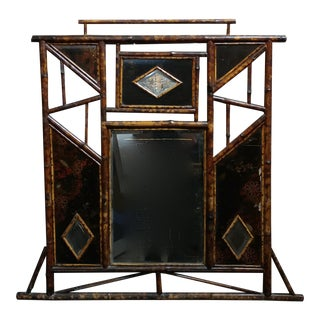 19th century Victorian Bamboo Mirror w/ Chinoiserie lacquer accents-1880s For Sale