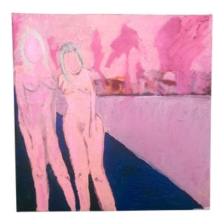 Pink Oil Painting of Two Nudes by Virginia Chamlee For Sale
