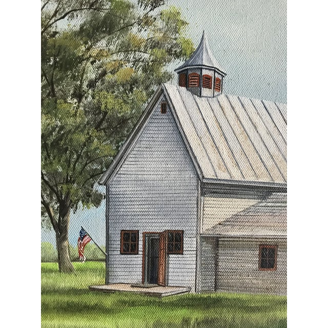 Vintage Mid-Century Schoolhouse Acrylic on Canvas Painting For Sale - Image 4 of 7