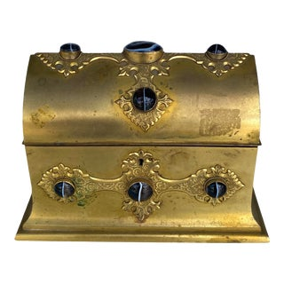 Gilt-Metal Box With Stone Accents For Sale