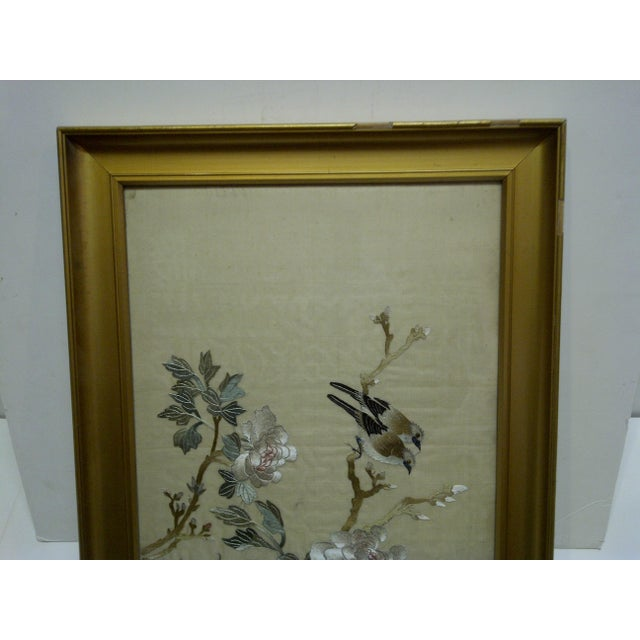 """Asian """"Song Birds"""" Embroidery on Silk For Sale - Image 3 of 7"""