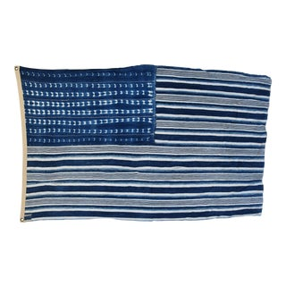 "Boho Chic Indigo Blue & White Flag From African Textiles 53"" X 35"" For Sale"