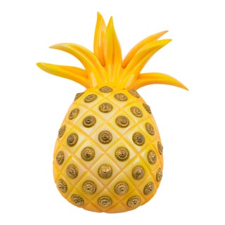 Isabel Canovas Paris Oversized Yellow Pineapple Resin Pin Brooch For Sale