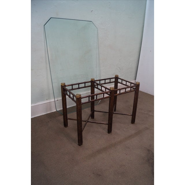 Faux Bamboo Tortoise Shell Painted Dining Table For Sale - Image 5 of 10