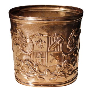 English Copper Repoussé Waste Bin/ Trash Can For Sale