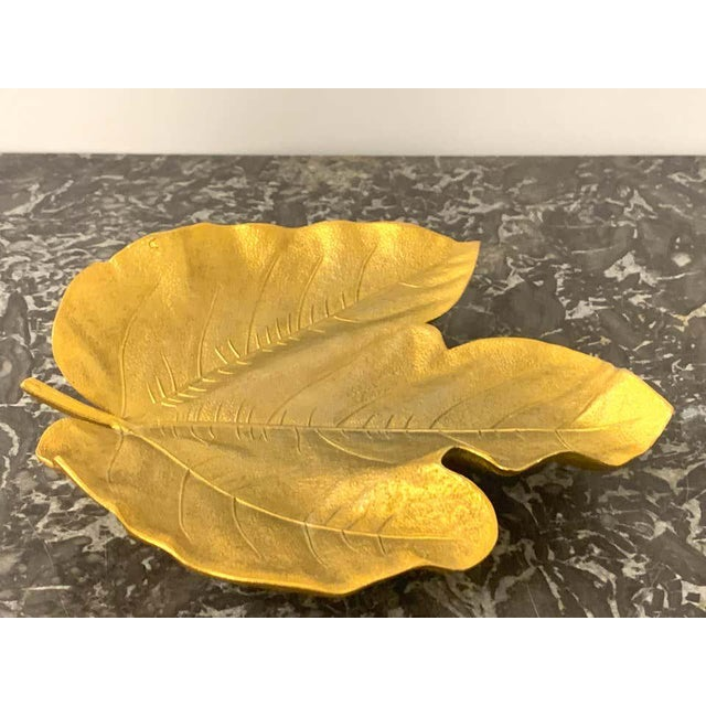 Modern Mid 20th Century French Modern Gilt Bronze Leaf Vide-Poche For Sale - Image 3 of 7