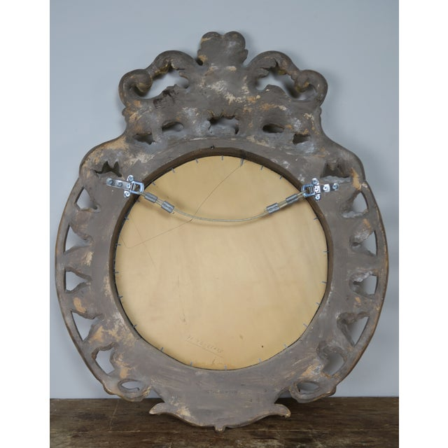 French Gilt Wood Rococo Style Round Shaped Mirror For Sale - Image 9 of 11