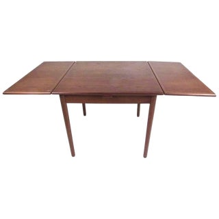 Small Teak Scandinavian Modern Draw Leaf Dining Table For Sale
