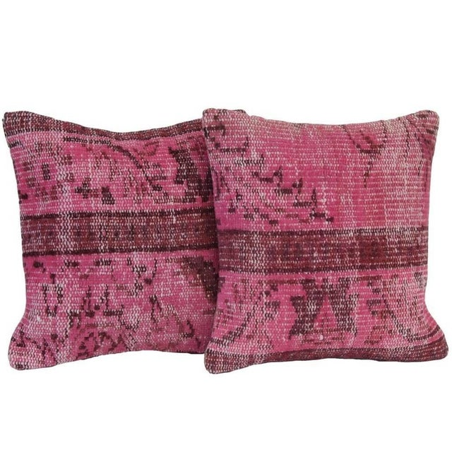 Pink Handmade Over-Dyed Rug Pillows - Pair - Image 1 of 3