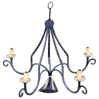 1960s Vintage Regency Silk Navy Blue Minimal Chandelier For Sale