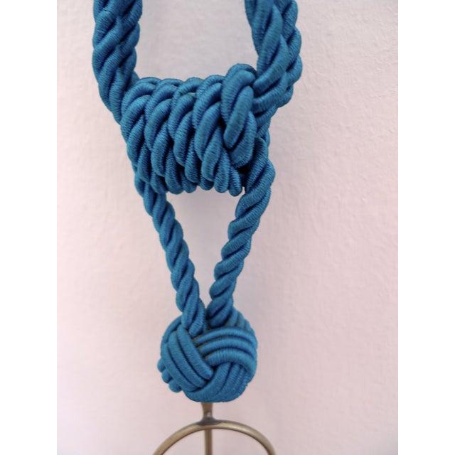 Moroccan Blue Silk & Brass Tassel Ornament - Image 7 of 8