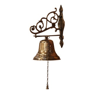 Midcentury French Brass Hanging Bell With Chain and Wall Bracket For Sale