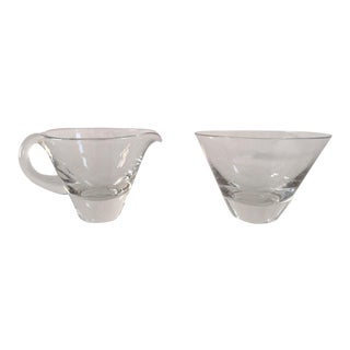 Mid-Century Clear Glass Creamer & Sugar Set For Sale